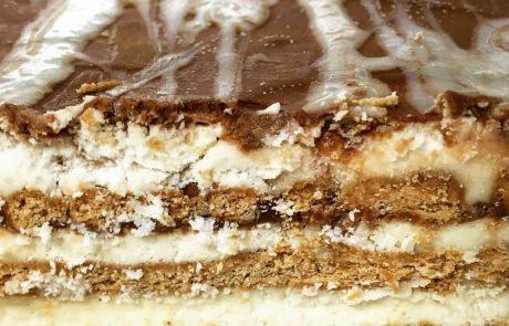 שכבות ביסקוויטים בקרם שמנת וריבת חלב בזיגוג שוקולדים בטעמים שונים