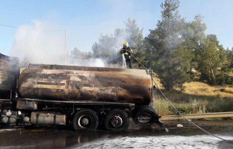 מכלית דלק עלתה באש סמוך לאביעזר